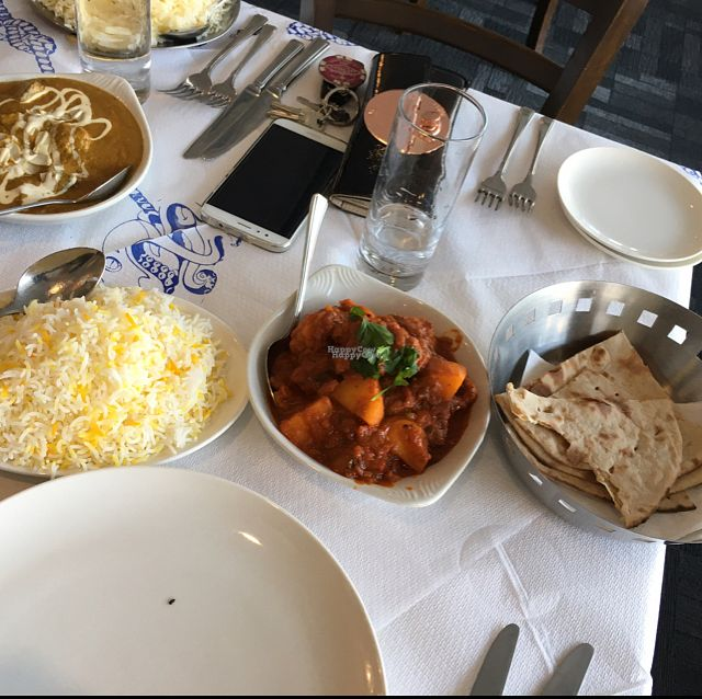 "Photo of Subha Sandhya  by <a href=""/members/profile/BeccaVeg"">BeccaVeg</a> <br/>safron rice, aloo gobi and roti bread. all vegan ? <br/> October 10, 2016  - <a href='/contact/abuse/image/66824/180989'>Report</a>"