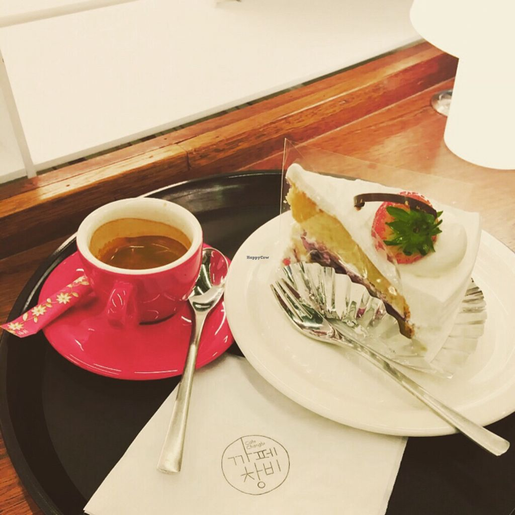 """Photo of REMOVED: Cafe Changbi - 까페창비  by <a href=""""/members/profile/ItalianChick"""">ItalianChick</a> <br/>vegan cake and coffee  <br/> January 7, 2016  - <a href='/contact/abuse/image/66836/131438'>Report</a>"""