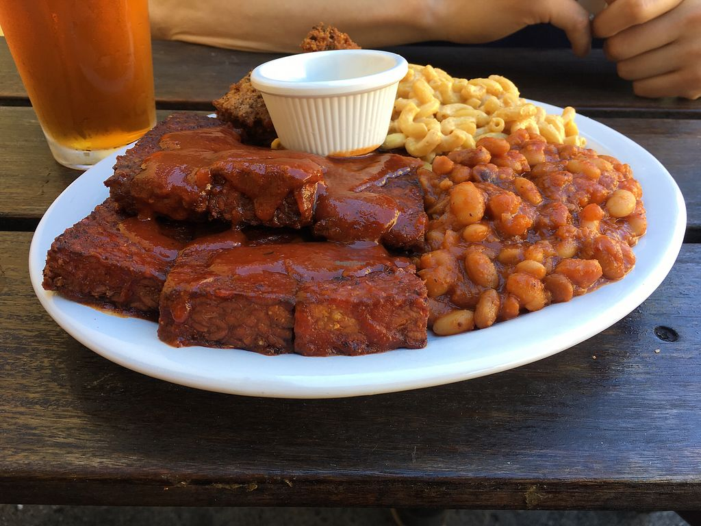 """Photo of Homegrown Smoker  by <a href=""""/members/profile/shenalee"""">shenalee</a> <br/>temph ribs with macnocheese, BBQ beans, and hush puppies  <br/> July 28, 2017  - <a href='/contact/abuse/image/66879/285972'>Report</a>"""