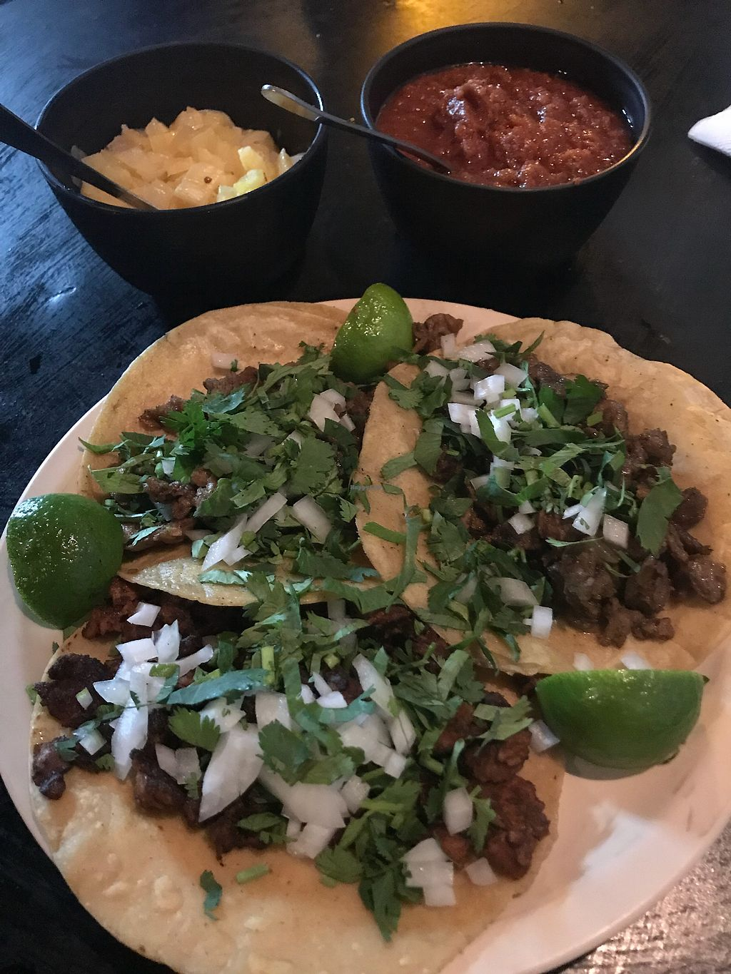"Photo of Taquería Vegetariana La Takhe  by <a href=""/members/profile/rackoo"">rackoo</a> <br/>Vegan tacos, 3 kinds with housemade vegan cheese <br/> January 14, 2018  - <a href='/contact/abuse/image/66882/346569'>Report</a>"