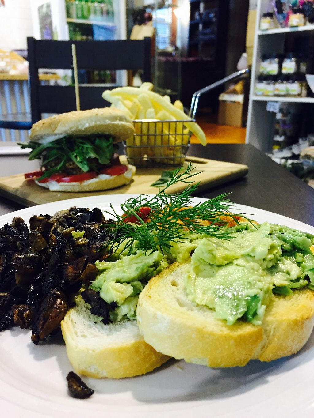 """Photo of CLOSED: Abitza  by <a href=""""/members/profile/karlaess"""">karlaess</a> <br/>Avocado on toast with a side of mushrooms and organic baked beans <br/> December 11, 2015  - <a href='/contact/abuse/image/66922/127986'>Report</a>"""