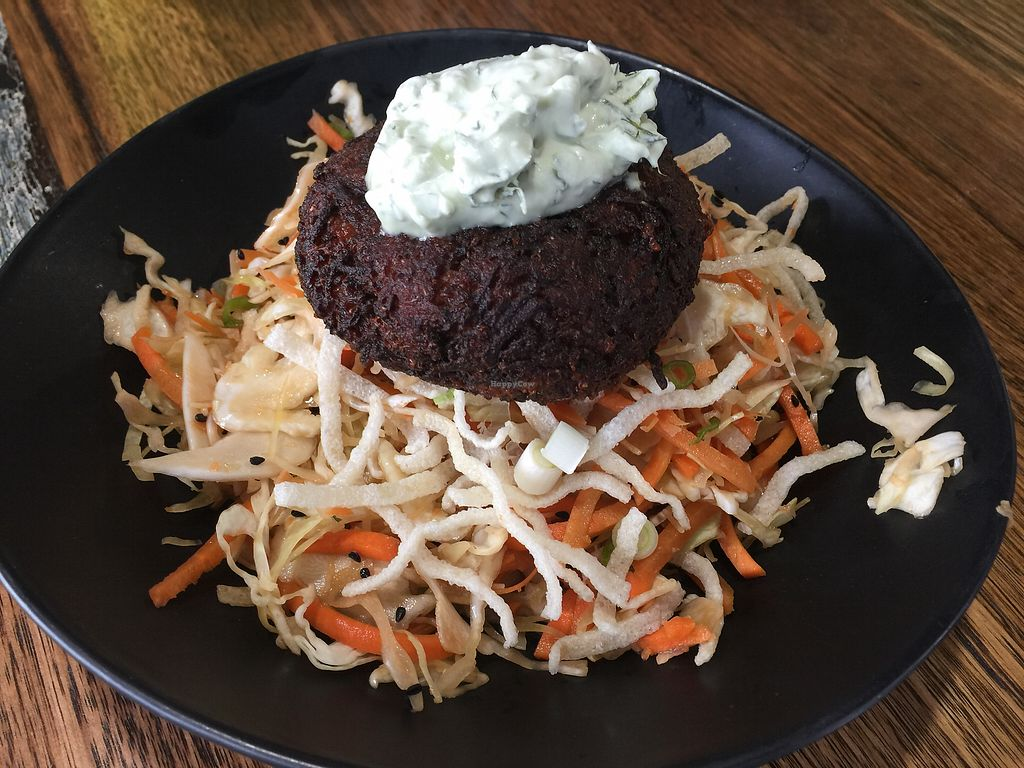 "Photo of Wholefood Merchants Kitchen  by <a href=""/members/profile/Tiggy"">Tiggy</a> <br/>Quinoa fritter with 'Open Sesame' salad <br/> June 12, 2017  - <a href='/contact/abuse/image/66926/268306'>Report</a>"
