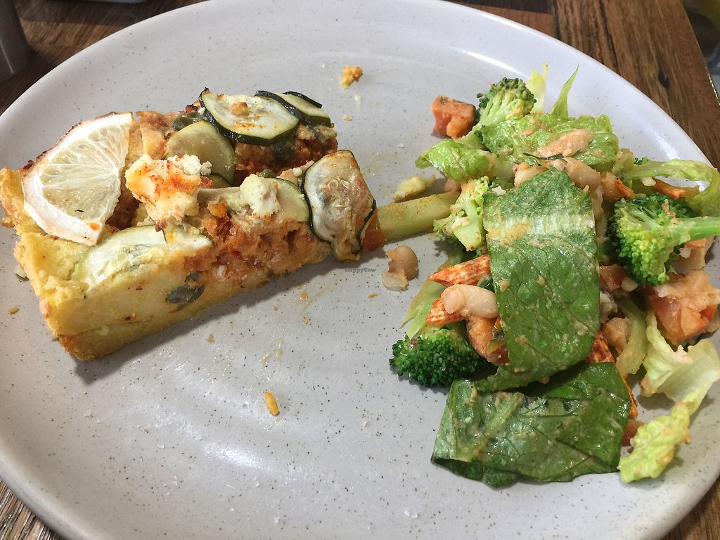 "Photo of Wholefood Merchants Kitchen  by <a href=""/members/profile/Tiggy"">Tiggy</a> <br/>Vegan quiche with 'Cowboy' salad <br/> June 12, 2017  - <a href='/contact/abuse/image/66926/268307'>Report</a>"