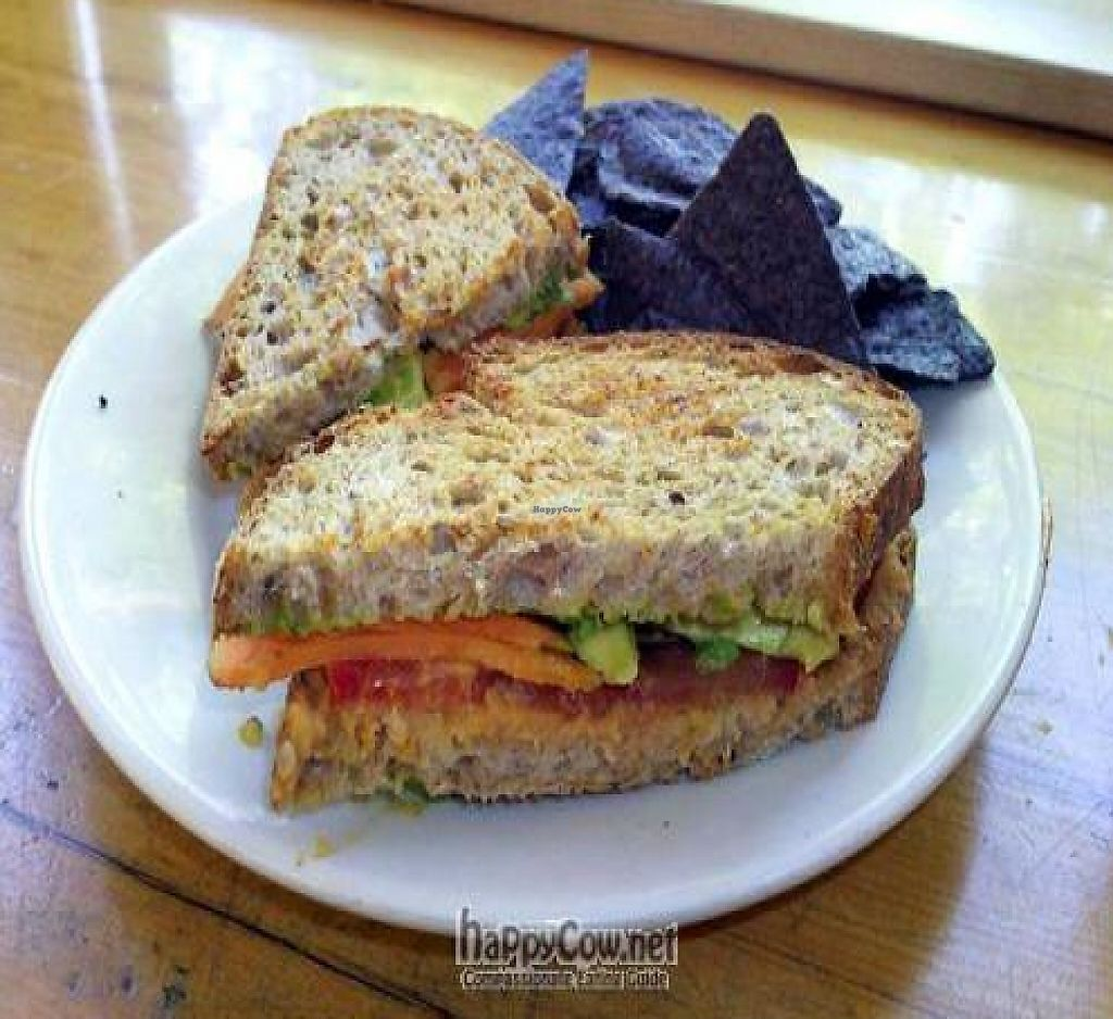 """Photo of Oryana Natural Foods Market  by <a href=""""/members/profile/happycowgirl"""">happycowgirl</a> <br/>Grilled Veggie Panini with avocado, yams, tomato and sundried tomato hummus on 7-grain bread (vegan) <br/> July 3, 2011  - <a href='/contact/abuse/image/6692/204829'>Report</a>"""
