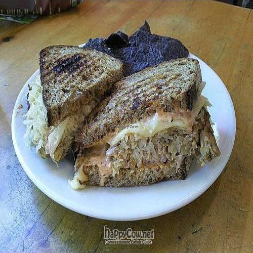 """Photo of Oryana Natural Foods Market  by <a href=""""/members/profile/happycowgirl"""">happycowgirl</a> <br/>Tempeh Reuben Panini - Tempeh, Swiss cheese, sauerkraut and Russian dressing on rye bread <br/> July 11, 2011  - <a href='/contact/abuse/image/6692/9590'>Report</a>"""