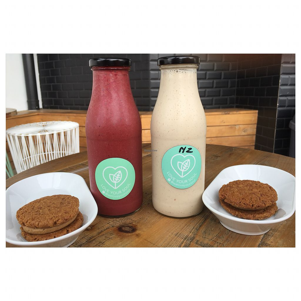 """Photo of Love Your Soul  by <a href=""""/members/profile/Mezz7"""">Mezz7</a> <br/>Red Velvet Smoothie and Raw Caramel Smoothie . Raw peanut cookies  <br/> April 10, 2018  - <a href='/contact/abuse/image/66932/383227'>Report</a>"""