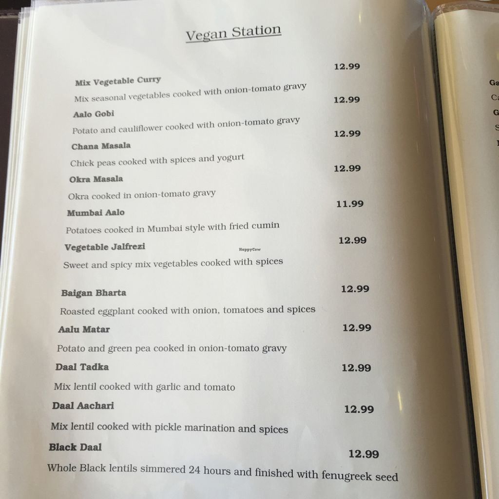 "Photo of Curry Station - Clark Blvd  by <a href=""/members/profile/h.oneal"">h.oneal</a> <br/>Entire vegan page of menu <br/> June 26, 2016  - <a href='/contact/abuse/image/66937/156201'>Report</a>"
