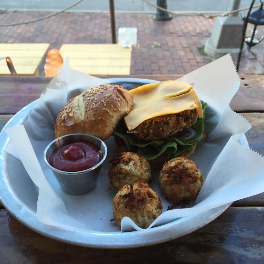 """Photo of LFK  by <a href=""""/members/profile/Cperago"""">Cperago</a> <br/>veggie burger and tater tots  <br/> July 5, 2016  - <a href='/contact/abuse/image/66954/157975'>Report</a>"""
