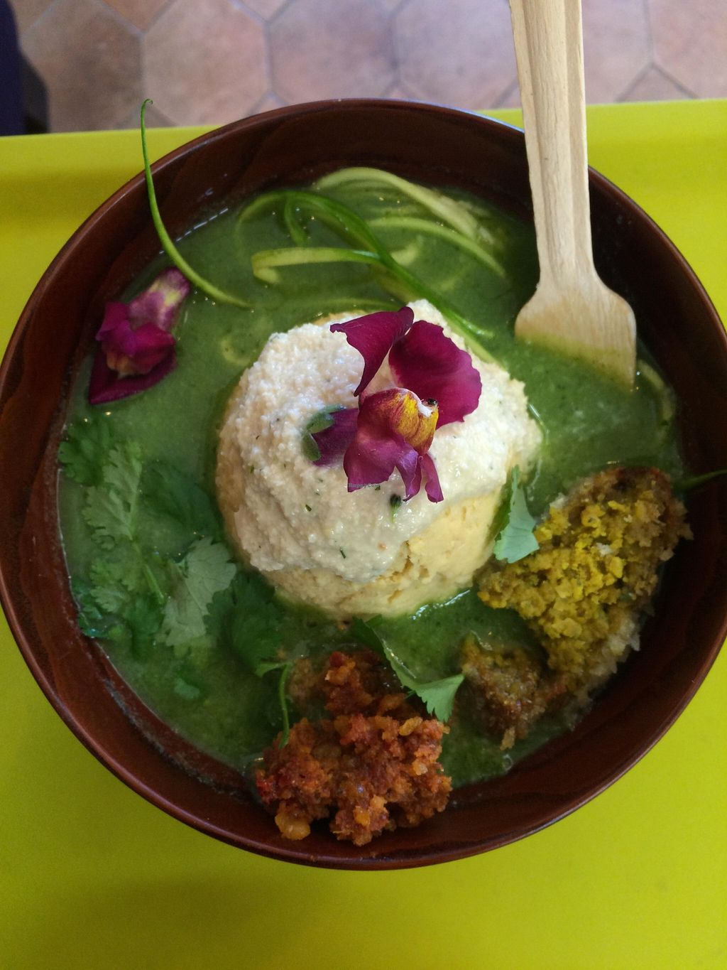 """Photo of CLOSED: Sattbar - 사뜨바  by <a href=""""/members/profile/michellekim"""">michellekim</a> <br/>One of the newest additions to the menu. Noodles made of squash and no flour was used in this meal.  <br/> January 31, 2016  - <a href='/contact/abuse/image/66958/134326'>Report</a>"""