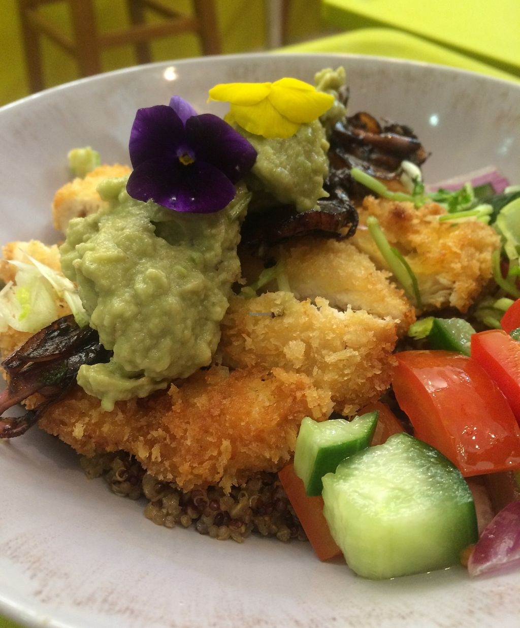 """Photo of CLOSED: Sattbar - 사뜨바  by <a href=""""/members/profile/michellekim"""">michellekim</a> <br/>my ultimate favorite sattbowl- chef style. The chicken is an addition and can be taken out and replaced with falafel balls or whatever the chef is in the mood for.  <br/> January 31, 2016  - <a href='/contact/abuse/image/66958/134327'>Report</a>"""