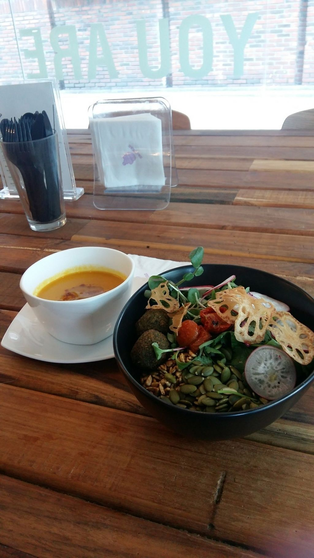 """Photo of CLOSED: Sattbar - 사뜨바  by <a href=""""/members/profile/snowbunnykitchen"""">snowbunnykitchen</a> <br/>Carrot soup & buddha bowl  <br/> April 8, 2017  - <a href='/contact/abuse/image/66958/245679'>Report</a>"""