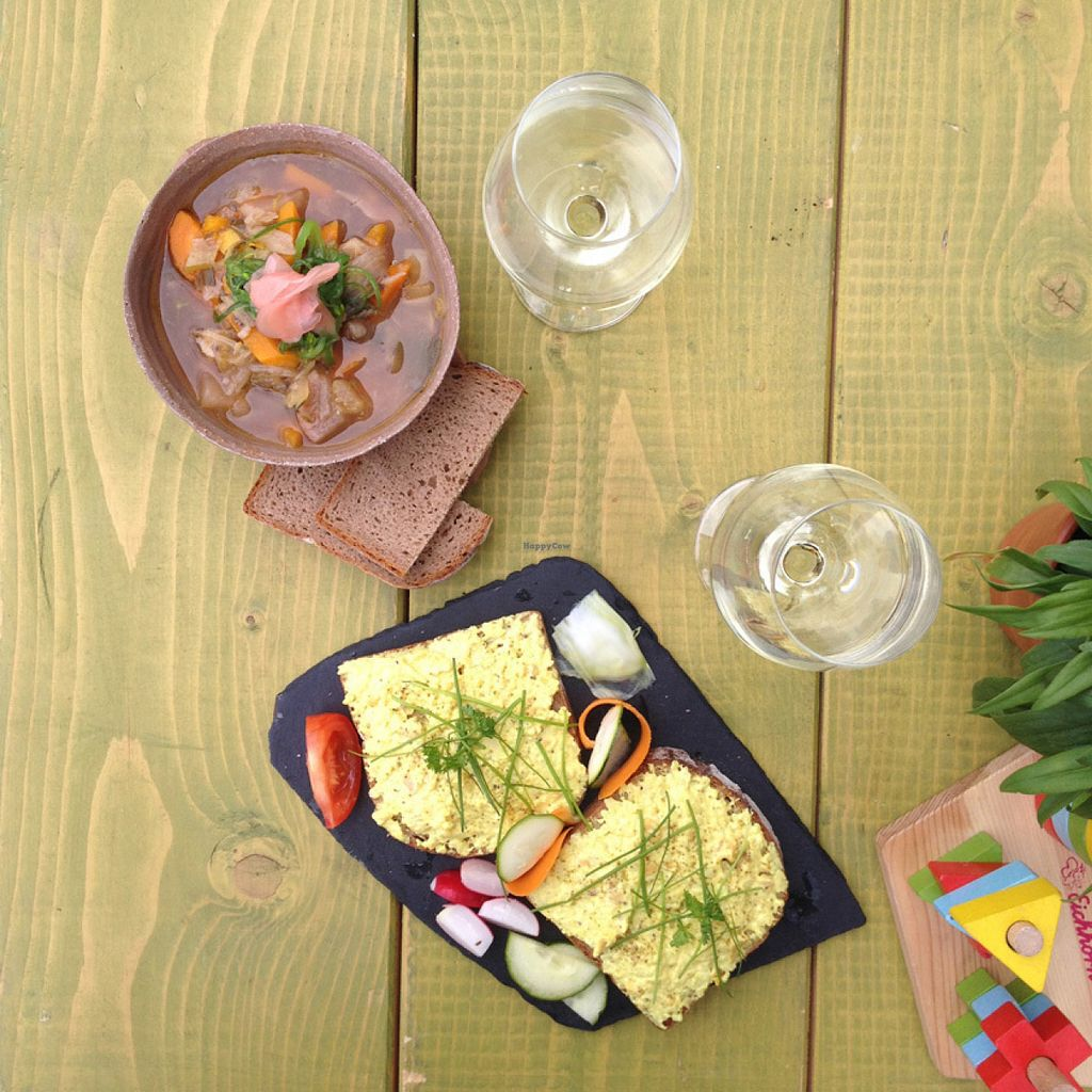 """Photo of Bistro & Cafe Gartenliebe  by <a href=""""/members/profile/Waldpicknick"""">Waldpicknick</a> <br/>Friday Special: Asian Rice Noodle soup, and the standby - vegan egg salad toast. (We also had orders of the seaweed salad). Thuringian Weisser Burgunder (Pinot blanc).  <br/> July 15, 2016  - <a href='/contact/abuse/image/66964/160082'>Report</a>"""