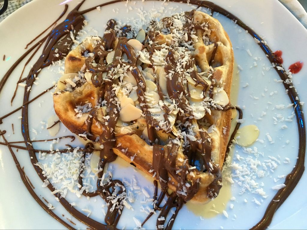 """Photo of Waffelschwestern  by <a href=""""/members/profile/marky_mark"""">marky_mark</a> <br/>'chocolate' almond topping on vegan waffle <br/> December 12, 2015  - <a href='/contact/abuse/image/66967/128074'>Report</a>"""