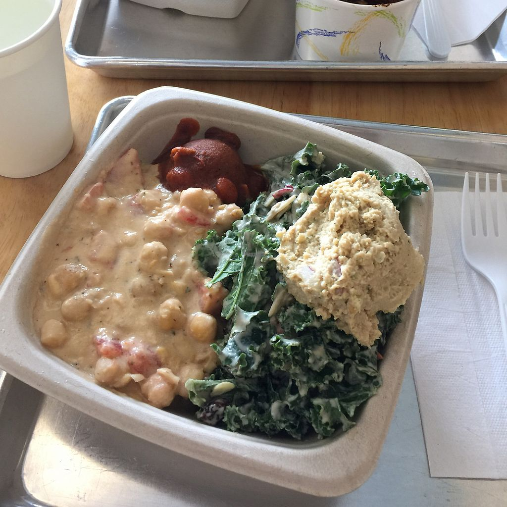 """Photo of Plant Wise  by <a href=""""/members/profile/maryeatsvegan"""">maryeatsvegan</a> <br/>chickpea and tomato bowl with kale caesar salad combo <br/> December 15, 2016  - <a href='/contact/abuse/image/66995/201476'>Report</a>"""