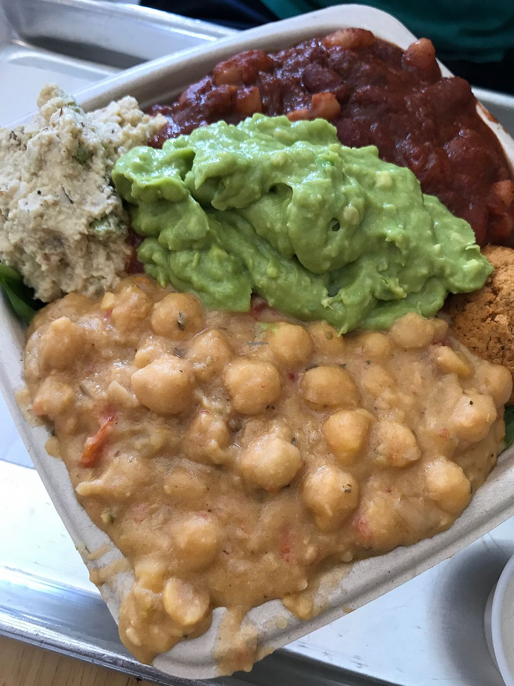 """Photo of Plant Wise  by <a href=""""/members/profile/allissa18"""">allissa18</a> <br/>super hero sampler with tomato chickpea, avo mash, bean chili, falafel, veggie tuna on a bed of spinach and quinoa. soo big and filling!  <br/> July 3, 2017  - <a href='/contact/abuse/image/66995/276431'>Report</a>"""