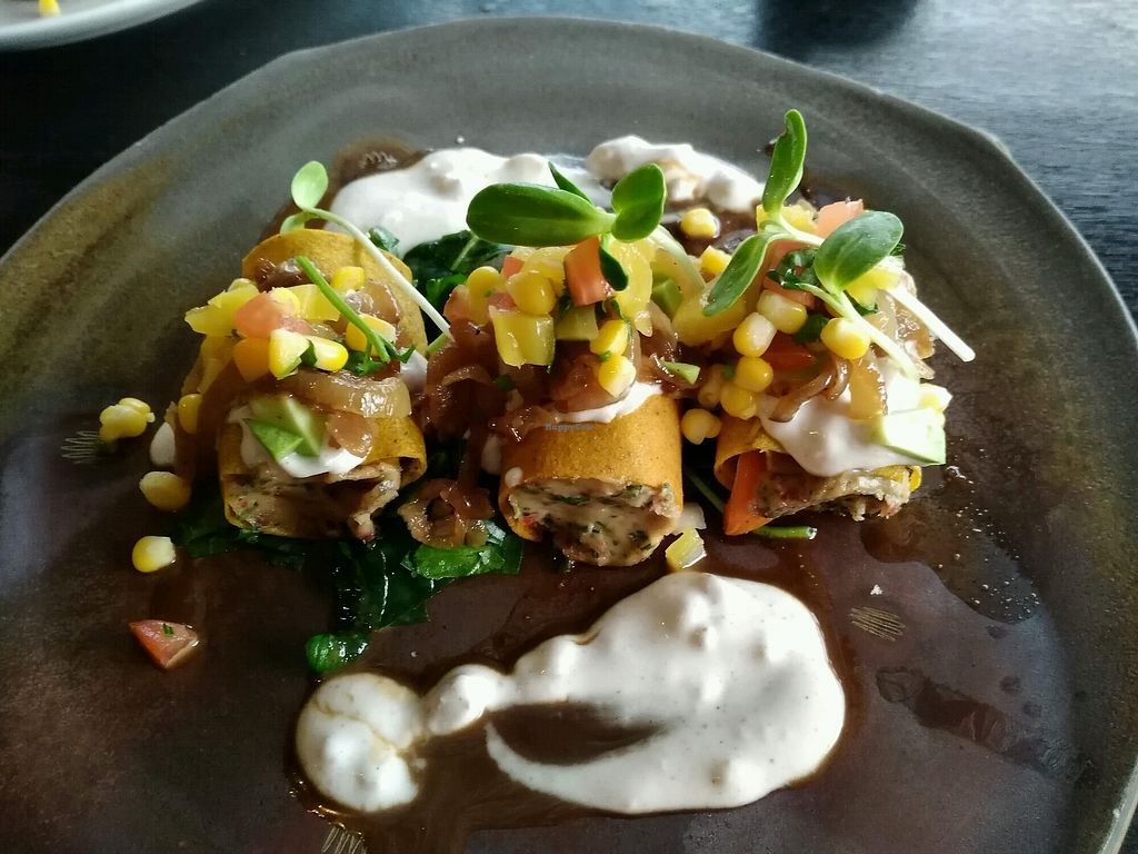 """Photo of Moksa Ubud  by <a href=""""/members/profile/tobyas"""">tobyas</a> <br/>Pumpkin canneloni filled with cashew cheese <br/> January 5, 2018  - <a href='/contact/abuse/image/66999/343133'>Report</a>"""