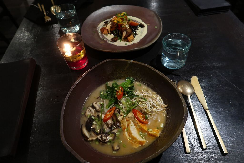 """Photo of Moksa Ubud  by <a href=""""/members/profile/kate.sugak"""">kate.sugak</a> <br/>Vegan Miso Noodle And some amazing dish I don't remember the name  <br/> April 7, 2018  - <a href='/contact/abuse/image/66999/381993'>Report</a>"""