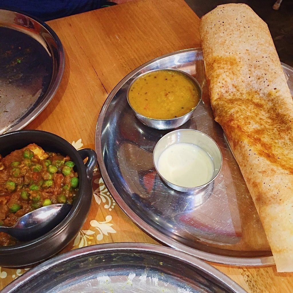 "Photo of Mukka  by <a href=""/members/profile/GreatVeganExp"">GreatVeganExp</a> <br/>Smoky eggplant and pea dosa, and matar tofu <br/> January 13, 2017  - <a href='/contact/abuse/image/67003/211653'>Report</a>"