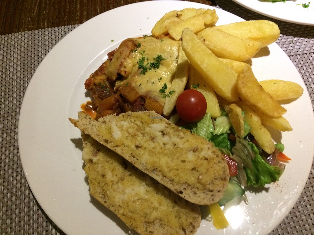 """Photo of The Black Horse  by <a href=""""/members/profile/Alisonc"""">Alisonc</a> <br/>Vegan lasagna with garlic bread  <br/> September 4, 2017  - <a href='/contact/abuse/image/67015/300948'>Report</a>"""