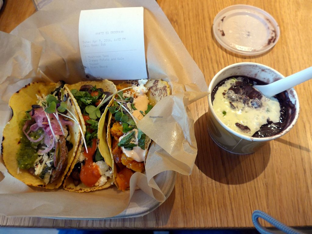 "Photo of Chaia  by <a href=""/members/profile/karl8704"">karl8704</a> <br/>Chaia's farm-to-taco combo, the creamy kale and potato; the mushroom; and the butternut squash. Black beans on the side <br/> April 9, 2016  - <a href='/contact/abuse/image/67106/143700'>Report</a>"