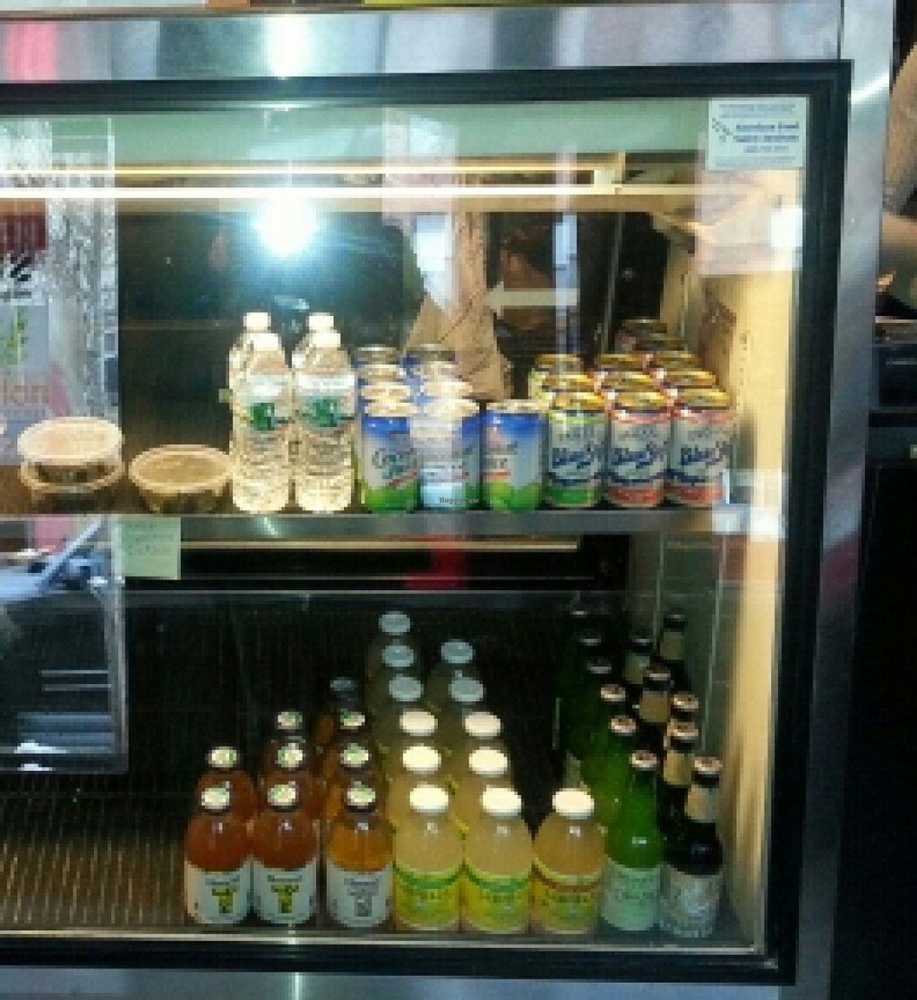 """Photo of Fruition Vegan Kitchen  by <a href=""""/members/profile/slithers"""">slithers</a> <br/>Drinks display case (with stuffed grape leaves) <br/> January 9, 2016  - <a href='/contact/abuse/image/67115/131637'>Report</a>"""