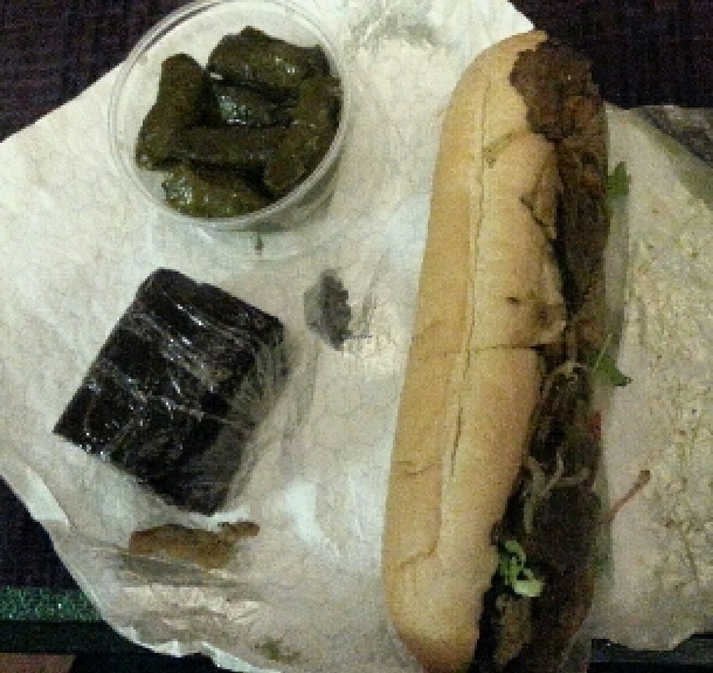 """Photo of Fruition Vegan Kitchen  by <a href=""""/members/profile/slithers"""">slithers</a> <br/>Brownie, stuffed grape leaves & Gyro sub <br/> January 9, 2016  - <a href='/contact/abuse/image/67115/131638'>Report</a>"""