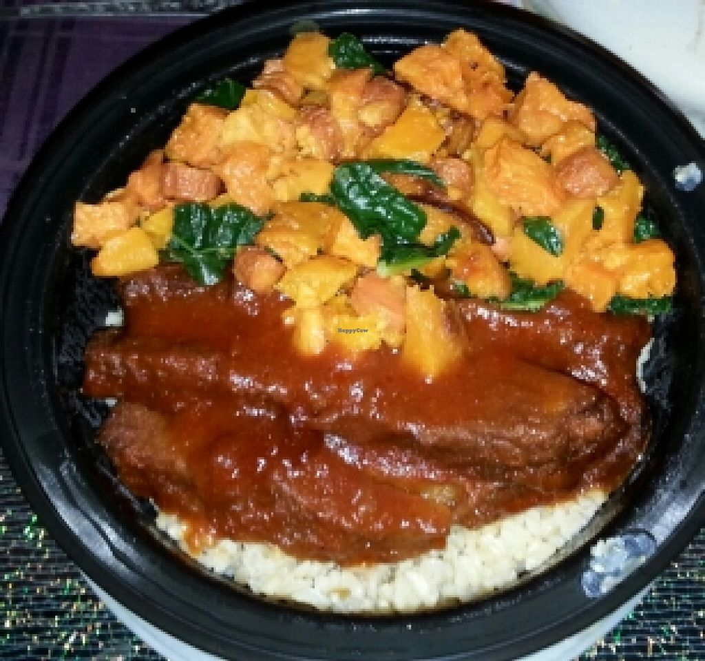 """Photo of Fruition Vegan Kitchen  by <a href=""""/members/profile/slithers"""">slithers</a> <br/>BBQ seitan w/ sweet potato, kale & brown rice <br/> January 31, 2016  - <a href='/contact/abuse/image/67115/134415'>Report</a>"""