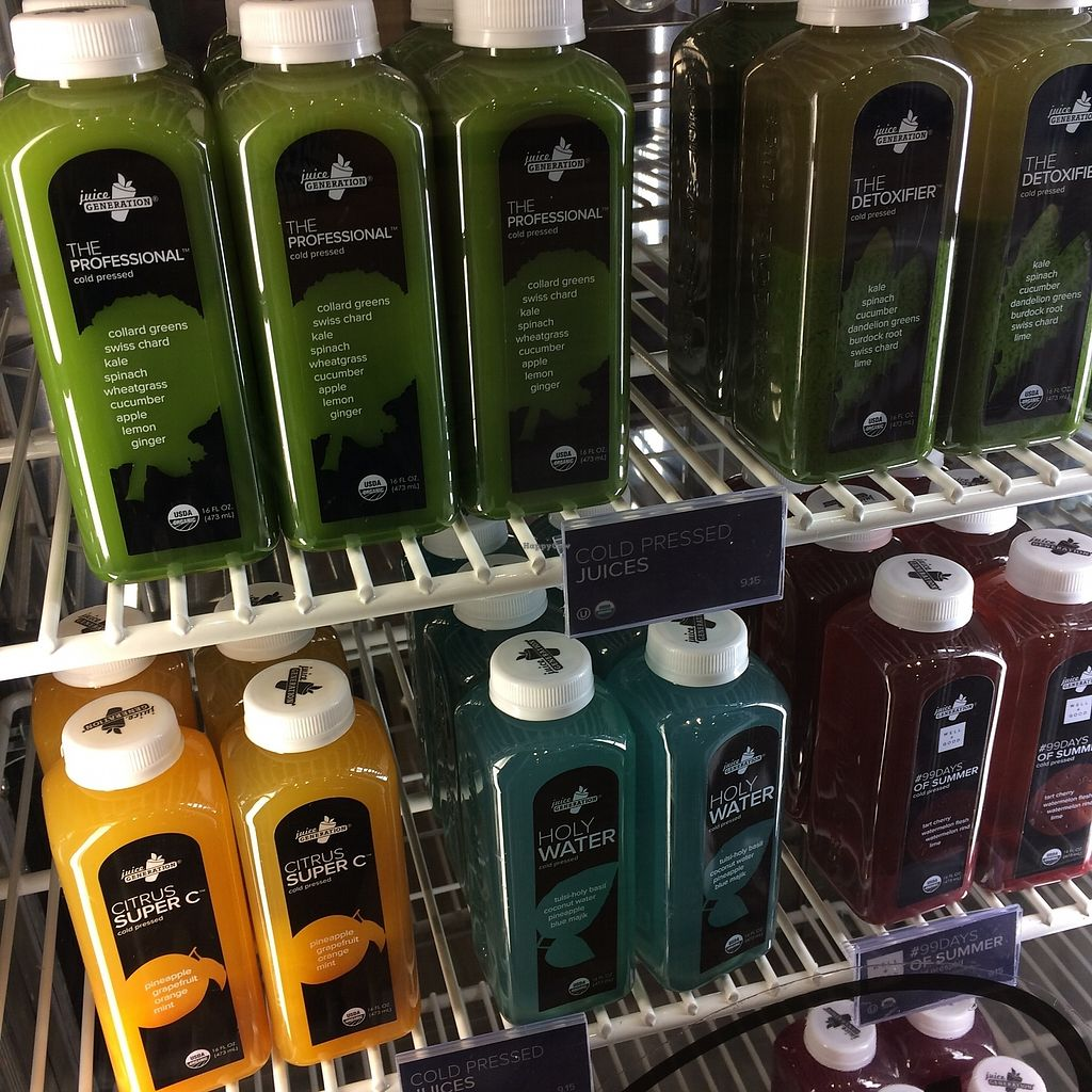 """Photo of Juice Generation - FiDi  by <a href=""""/members/profile/KatieBush"""">KatieBush</a> <br/>juices in cooler <br/> September 11, 2017  - <a href='/contact/abuse/image/67151/303356'>Report</a>"""