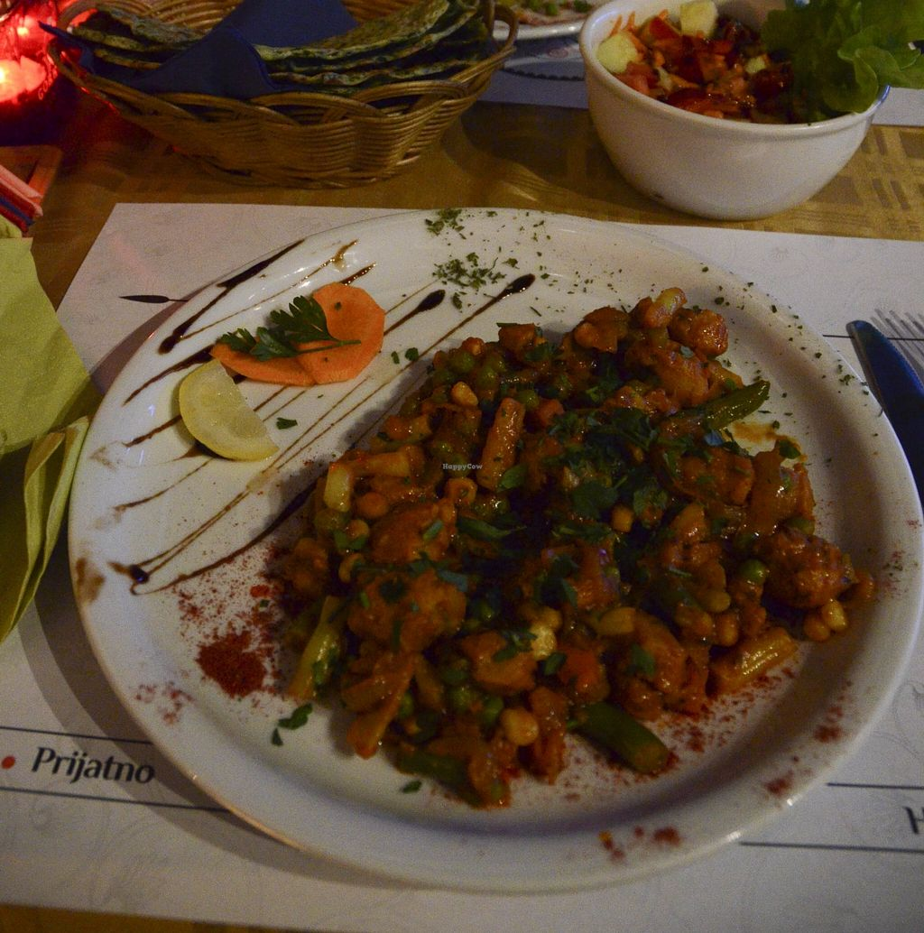 """Photo of CLOSED: Real India  by <a href=""""/members/profile/Ciad"""">Ciad</a> <br/>Soya Chunks with Vegetables, Naan, Salad <br/> December 18, 2015  - <a href='/contact/abuse/image/67159/129006'>Report</a>"""
