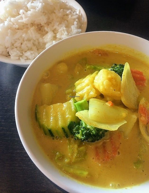 """Photo of Veganic Thai Cafe  by <a href=""""/members/profile/fullbellyhappyheart"""">fullbellyhappyheart</a> <br/>Yellow Curry with veggies <br/> June 20, 2017  - <a href='/contact/abuse/image/67161/271225'>Report</a>"""