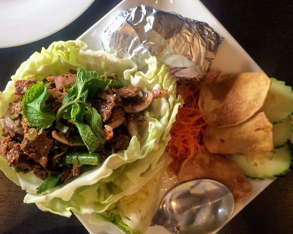 """Photo of Veganic Thai Cafe  by <a href=""""/members/profile/fullbellyhappyheart"""">fullbellyhappyheart</a> <br/>Larb, with vegan duck. Veganic Thai Cafe isn't messing around with the spicy scale. This was HOT! <br/> June 20, 2017  - <a href='/contact/abuse/image/67161/271228'>Report</a>"""