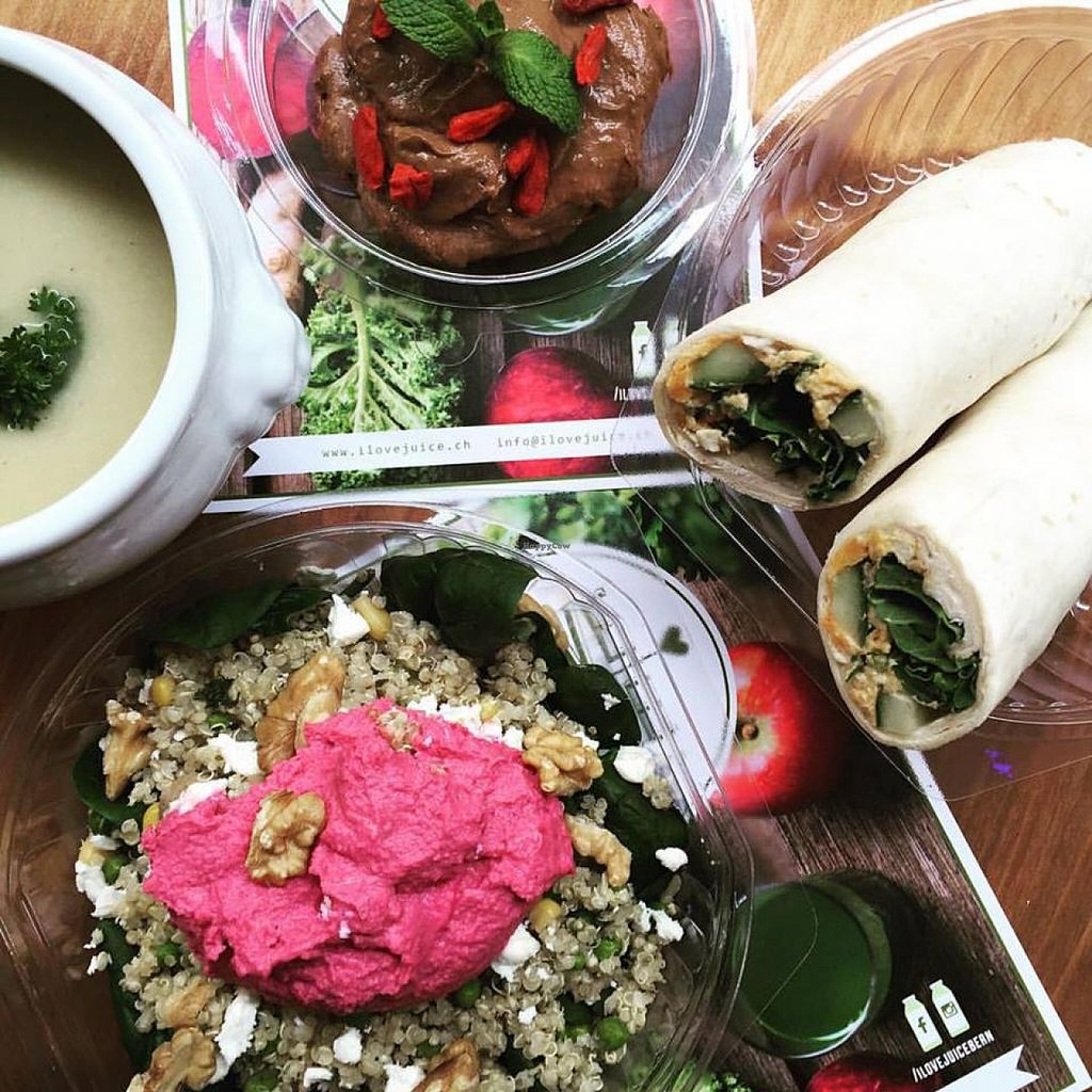"""Photo of I Love Juice  by <a href=""""/members/profile/Tina10"""">Tina10</a> <br/>Quinoa Beetroot Hummus Spinach Salad, Leek Soup, Raw Chocolate Goji Berry Mousse & Sweet Potato Kale Wrap <br/> December 18, 2015  - <a href='/contact/abuse/image/67175/128903'>Report</a>"""