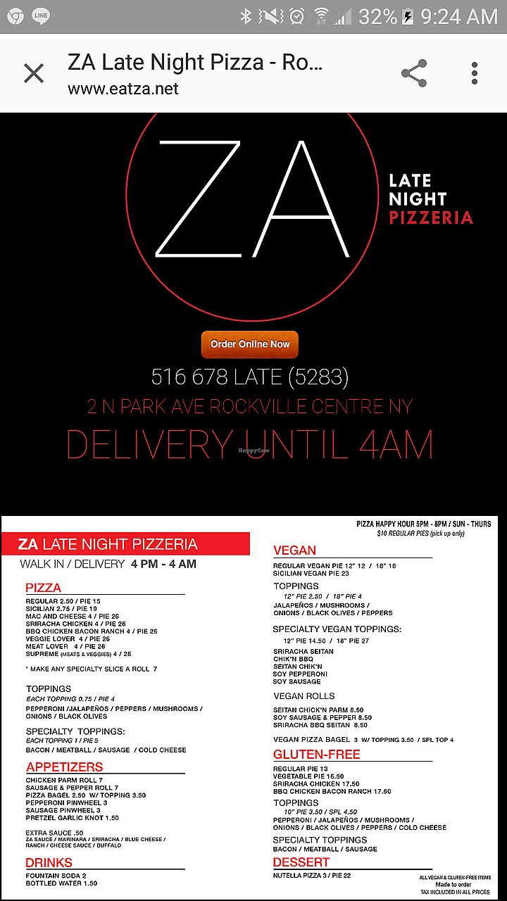 "Photo of Za Late Night Pizza  by <a href=""/members/profile/omonstar1"">omonstar1</a> <br/>Vegan option pizza in Rockville centre NY  <br/> August 19, 2017  - <a href='/contact/abuse/image/67278/294321'>Report</a>"