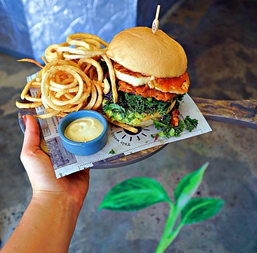 "Photo of Herb & Sprout Co  by <a href=""/members/profile/godofsparkles"">godofsparkles</a> <br/>Vegan Sweet potato and quinoa burger served with housemade curly fries and vegan aioli. 
