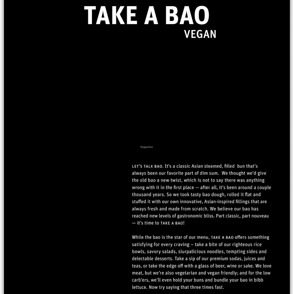 "Photo of CLOSED: Take a Bao  by <a href=""/members/profile/xmrfigx"">xmrfigx</a> <br/>Menu cover for their vegan options <br/> December 20, 2015  - <a href='/contact/abuse/image/67369/129283'>Report</a>"