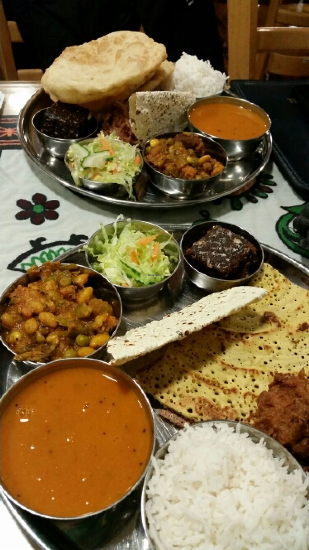 """Photo of Vegetarian Food Studio  by <a href=""""/members/profile/konlish"""">konlish</a> <br/>Vegan Tali one with Batura and other with Chickpea dosa <br/> December 23, 2015  - <a href='/contact/abuse/image/6736/129592'>Report</a>"""
