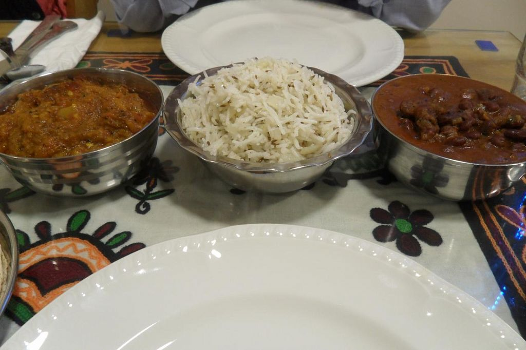 """Photo of Vegetarian Food Studio  by <a href=""""/members/profile/sXe_22"""">sXe_22</a> <br/>Mains: Ringan no-oro (aubergine), Onion Jeera Rice, Kidney Bean Saak <br/> April 28, 2014  - <a href='/contact/abuse/image/6736/68844'>Report</a>"""