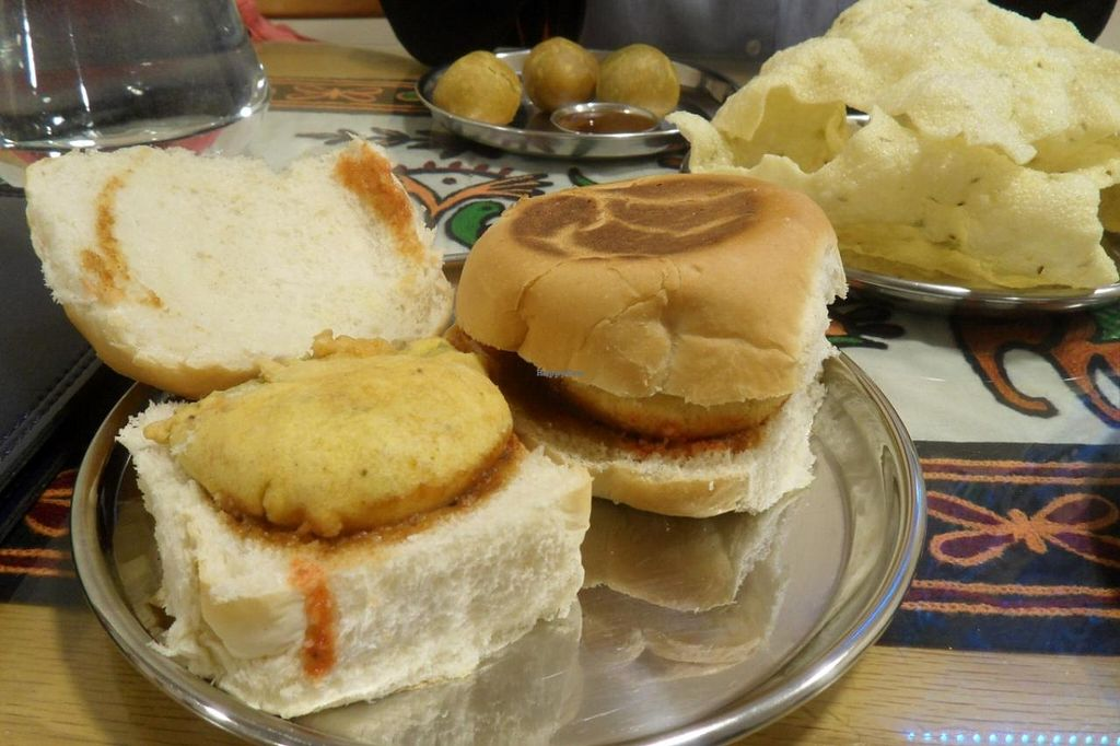 """Photo of Vegetarian Food Studio  by <a href=""""/members/profile/sXe_22"""">sXe_22</a> <br/>Muttary Kachori on the back (crispy pastry balls with spiced peas inside), Home-made rice poppadom, Bombay Wada Pav (sandwich with potato burger) <br/> April 28, 2014  - <a href='/contact/abuse/image/6736/68845'>Report</a>"""
