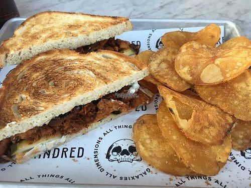 """Photo of Kindred  by <a href=""""/members/profile/Tranaya"""">Tranaya</a> <br/>Kindred BBQ jackfruit sandwich with homemade potato chips <br/> August 30, 2016  - <a href='/contact/abuse/image/67374/172480'>Report</a>"""