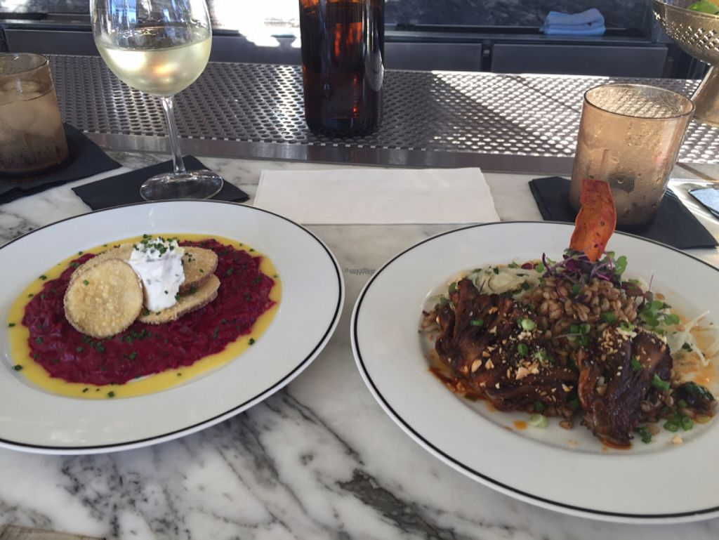 """Photo of Kindred  by <a href=""""/members/profile/NickiPT"""">NickiPT</a> <br/>Beet risotto with """"potato scallops"""" and maitake mushrooms with farro - really good! <br/> November 4, 2016  - <a href='/contact/abuse/image/67374/186589'>Report</a>"""