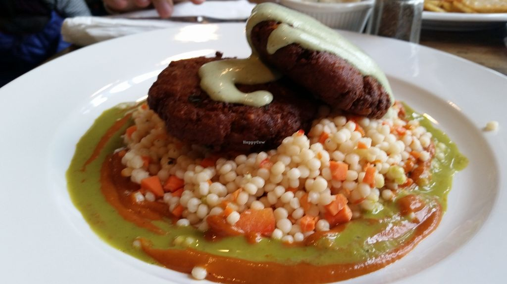 """Photo of CLOSED: Wild Rice Vegan Cafe  by <a href=""""/members/profile/nafanc"""">nafanc</a> <br/>Tempeh crab cakes and Israeli couscous <br/> January 16, 2016  - <a href='/contact/abuse/image/67391/132620'>Report</a>"""
