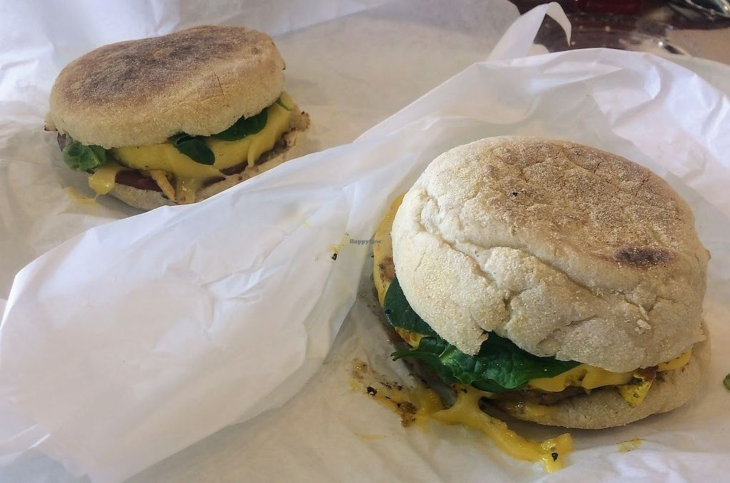 """Photo of Plant Power Fast Food  by <a href=""""/members/profile/fullbellyhappyheart"""">fullbellyhappyheart</a> <br/>Breakfast sandwiches with vegan meats and non-dairy cheeses on English muffins <br/> June 20, 2017  - <a href='/contact/abuse/image/67395/271216'>Report</a>"""