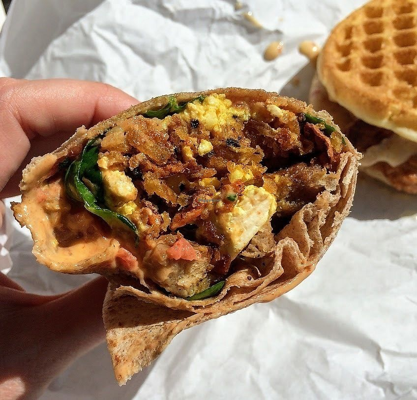 """Photo of Plant Power Fast Food  by <a href=""""/members/profile/fullbellyhappyheart"""">fullbellyhappyheart</a> <br/>Breakfast Burrito with tofu <br/> June 20, 2017  - <a href='/contact/abuse/image/67395/271218'>Report</a>"""