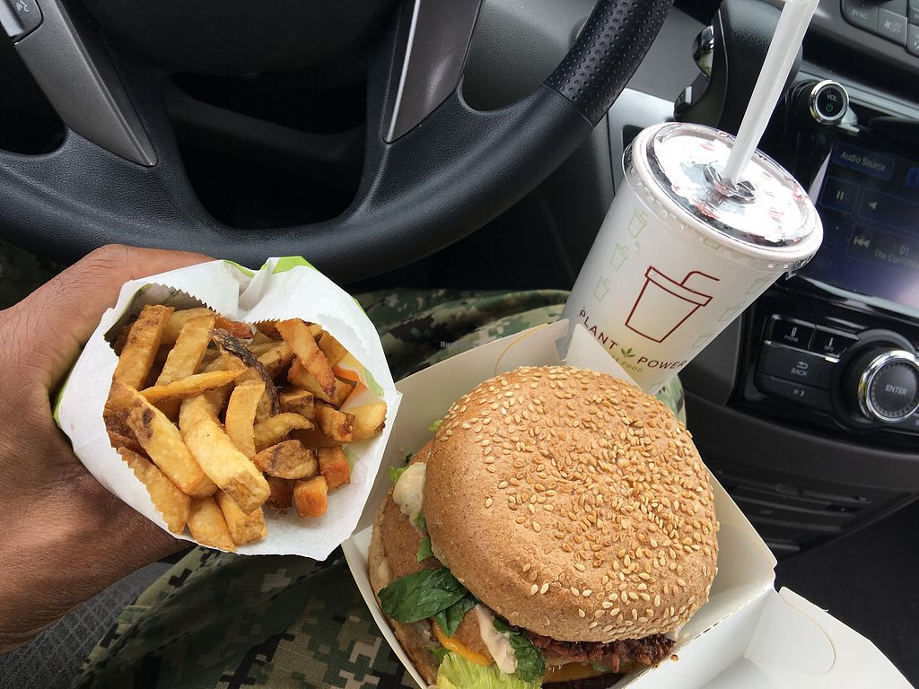 """Photo of Plant Power Fast Food  by <a href=""""/members/profile/St_whit"""">St_whit</a> <br/>Big Zac, Fries, and Natural Blueberry Soda <br/> November 1, 2017  - <a href='/contact/abuse/image/67395/320904'>Report</a>"""