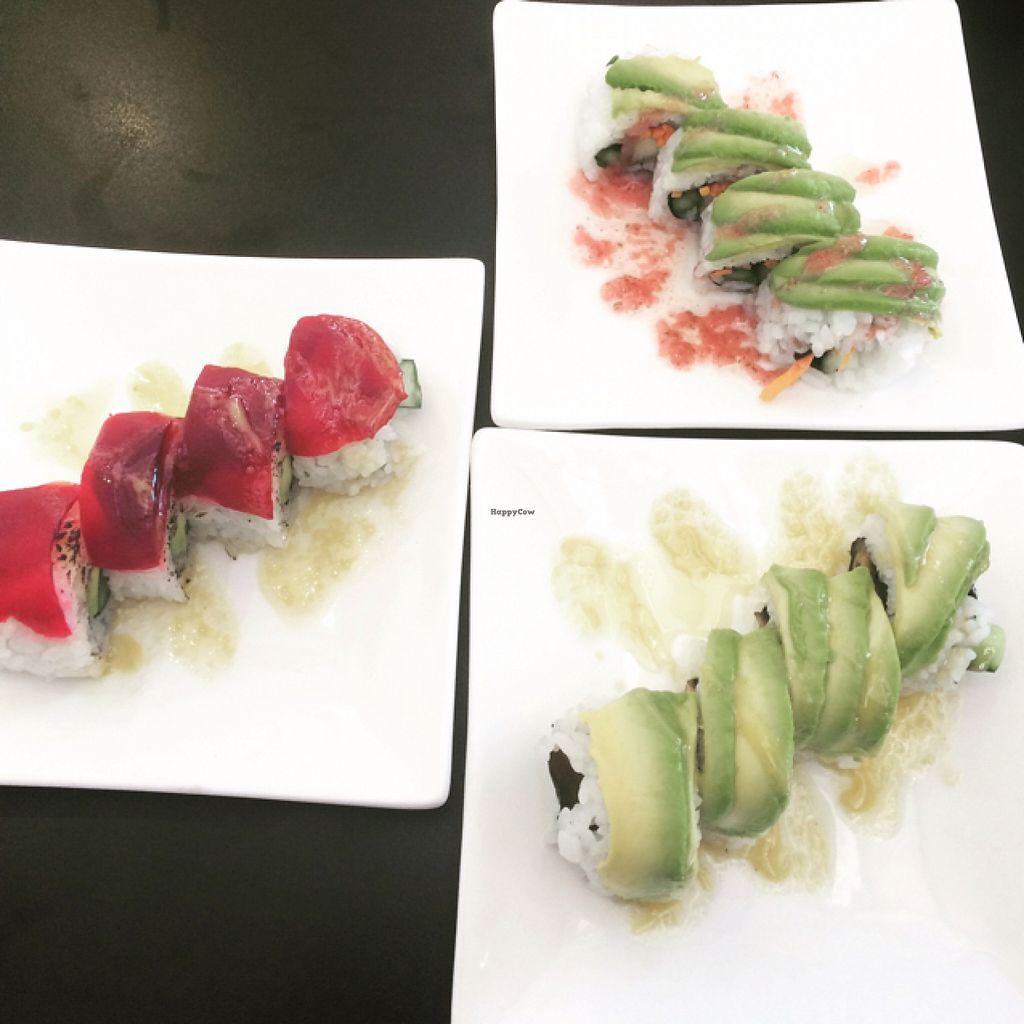 """Photo of Aisuru Sushi  by <a href=""""/members/profile/junglechick"""">junglechick</a> <br/>Assortment of vegan rolls <br/> March 5, 2016  - <a href='/contact/abuse/image/67407/138913'>Report</a>"""