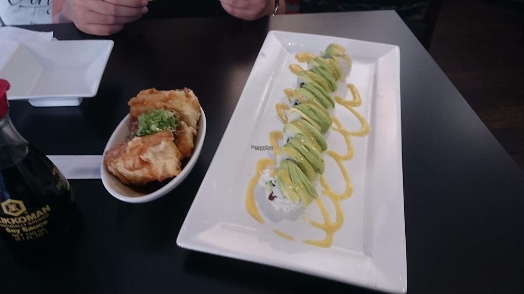 """Photo of Aisuru Sushi  by <a href=""""/members/profile/Cynthia1998"""">Cynthia1998</a> <br/>Teriyaki tofu on the left and shiitake mushroom sushi w/ sweet mustard dressing on the right  <br/> March 18, 2017  - <a href='/contact/abuse/image/67407/237781'>Report</a>"""