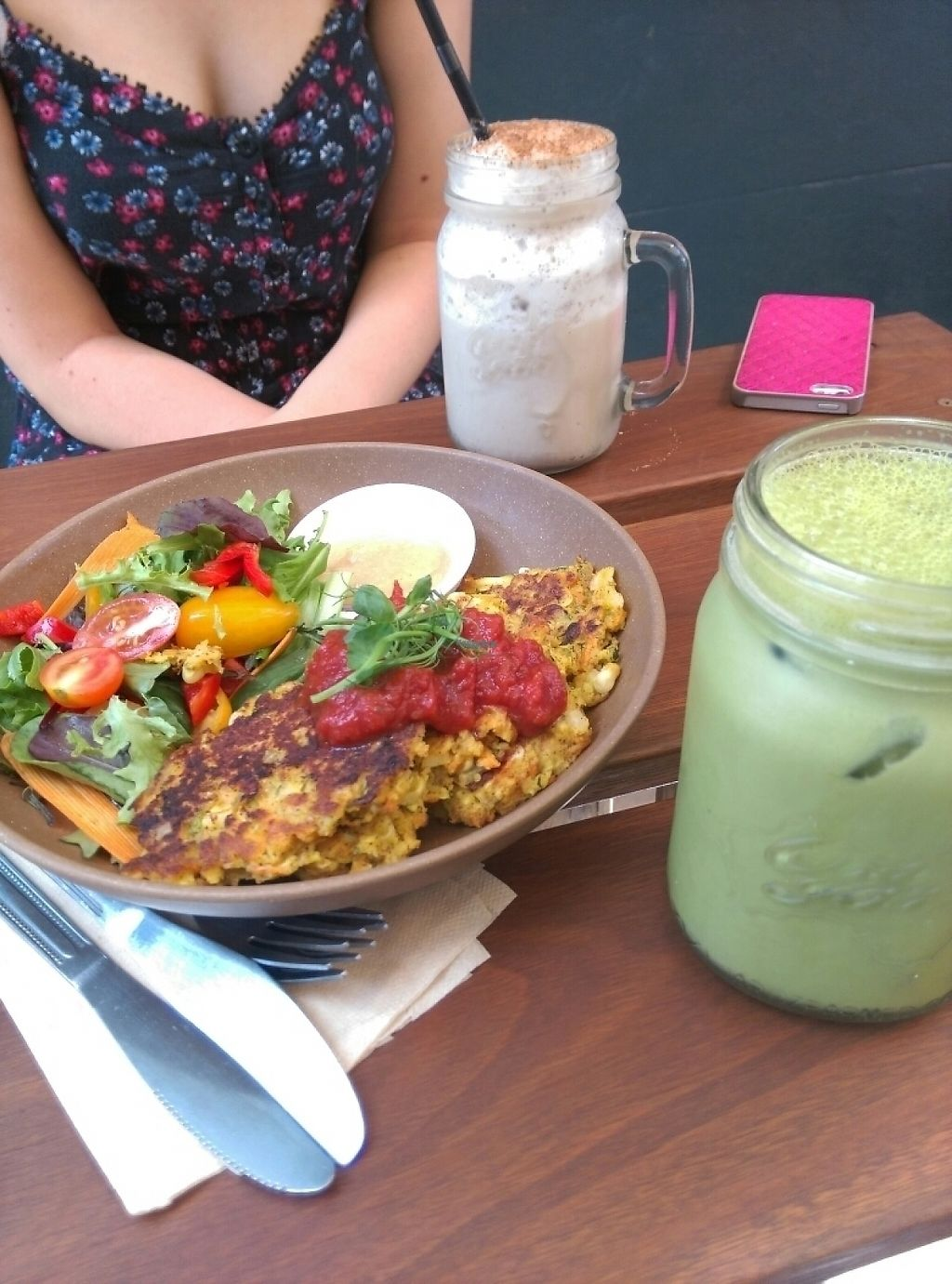 "Photo of Full Of Life Organics  by <a href=""/members/profile/p.s.vegan"">p.s.vegan</a> <br/>Vegetable fritters with homus & salad and drinking iced matcha & chai <br/> February 10, 2017  - <a href='/contact/abuse/image/67415/225066'>Report</a>"