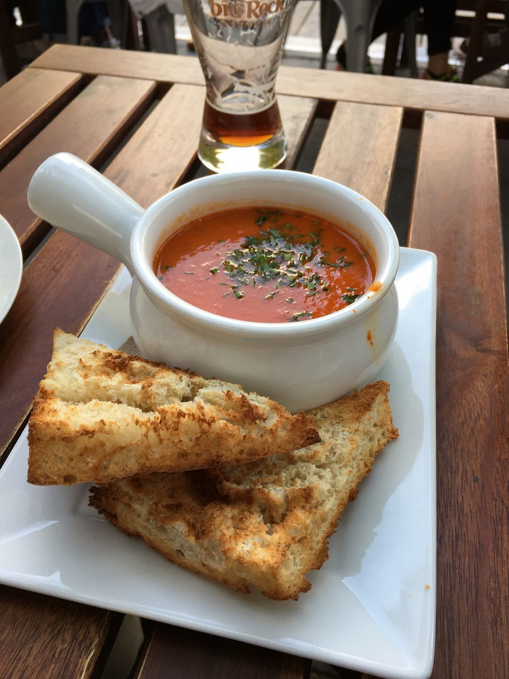 "Photo of Nourish Bistro  by <a href=""/members/profile/dlachica"">dlachica</a> <br/>tomato soup with vegan focaccia  <br/> September 3, 2017  - <a href='/contact/abuse/image/6744/300561'>Report</a>"