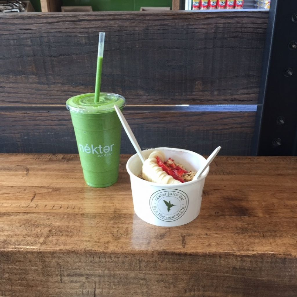 "Photo of Nekter Juice Bar  by <a href=""/members/profile/Napa%20Valley%20Vegan"">Napa Valley Vegan</a> <br/>Yum! An acai bowl and my favorite Tropical Cooler smoothie.  <br/> February 23, 2016  - <a href='/contact/abuse/image/67460/137446'>Report</a>"