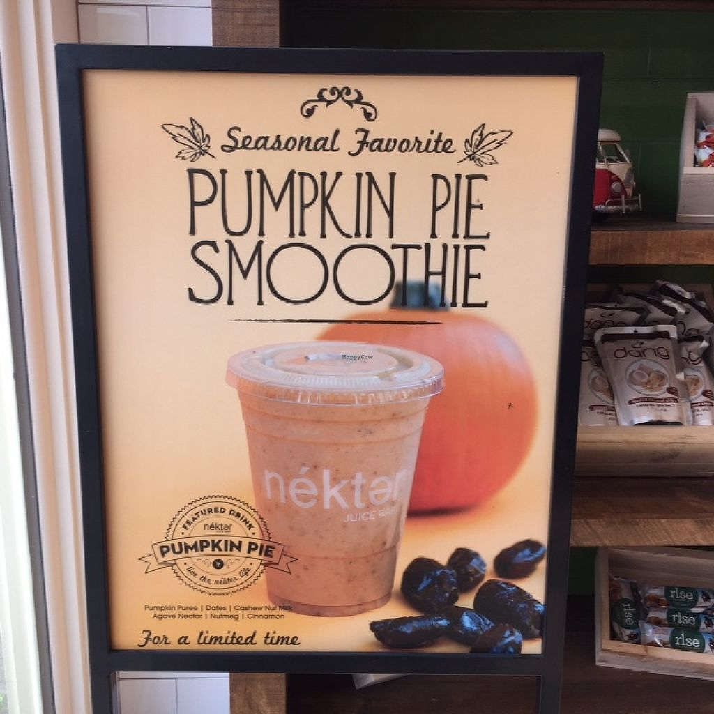 "Photo of Nekter Juice Bar  by <a href=""/members/profile/Napa%20Valley%20Vegan"">Napa Valley Vegan</a> <br/>Delicious, seasonal pumpkin smoothies <br/> February 23, 2016  - <a href='/contact/abuse/image/67460/137447'>Report</a>"